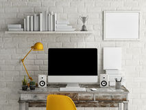 Mock Up work space, Monitor on table, 3d illustration Stock Photos