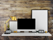 Mock up work space, wooden wall background, 3d illustration. Mock up work space, wooden wall background Royalty Free Stock Photography