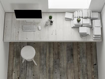 Mock up workspace, interior render, 3d illustration Royalty Free Stock Image