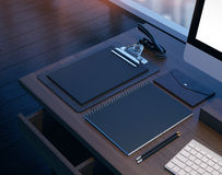 Mock up of workspace in the modern office. 3D Royalty Free Stock Photos