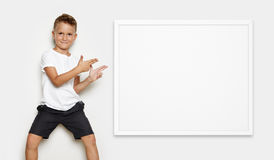 Mock up of young kid showing some action in the Stock Photography