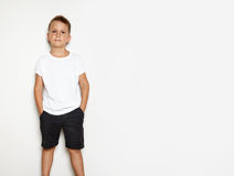 Mock up of young man wearing black shorts and Royalty Free Stock Photos