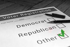 Voter Registration Form - Other / Third Party. A mock voter registration form indicating a person has signed up as a thrid party voter Royalty Free Stock Image