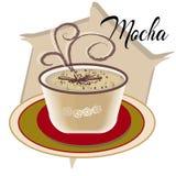 Mockakaffe kallade också Caffe med trätefatet på den vita tabellen Inre shoppar Huvudsakliga ingredienser av är choklad Royaltyfri Bild