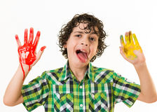 Mocker child with hands paint smear Stock Photography