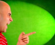 Mockery. Bald guy mockery to someone Stock Images