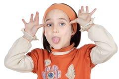 Mocking girl. Mocking adorable girl a over white background Royalty Free Stock Photos
