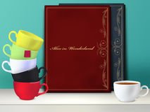 Mockup. Alice in Wonderland book. Mad tea party. Royalty Free Stock Image