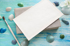 Mockup on the background of sea shells theme, holiday, letter, postcard Royalty Free Stock Photography