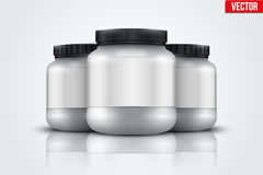 Mockup Background of Sport Nutrition Container. Whey Protein and Gainer. Royalty Free Stock Photos