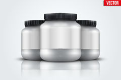 Mockup Background of Sport Nutrition Container. Whey Protein and Gainer. Stock Images