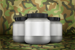 Mockup Background of Sport Nutrition Container. Whey Protein and Gainer. Royalty Free Stock Photography