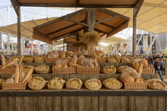 Mockup of bakery food in exhibition on Decumano , EXPO 2015 Mila. MILAN, ITALY - October 07, EXPO 2015, samples of bakery  food in exhibition in a wooden stall Royalty Free Stock Photo