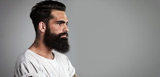 Mockup of beard and mustache man Stock Image