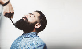 Mockup of bearded man in a barber shop Royalty Free Stock Images
