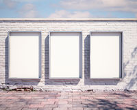 Mockup billboard on the wall. 3d. Mockup billboard on the wall royalty free stock photo