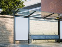 Mockup of blank banner on a bus stop in modern city. 3d rendering stock illustration