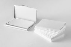 Mockup of blank business cards stack and cardholder Stock Photos
