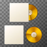Mockup of blank golden album vinyl disc with cover Royalty Free Stock Image