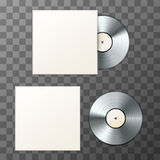 Mockup of blank platinum album vinyl disc with cover Stock Images