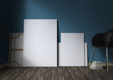 Mockup of blank posters on the floor. 3d illustration. Mockup of blank poster on the floor. 3d illustration Royalty Free Stock Images
