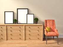 Mockup of blank three frame poster and chair. 3d illustration Stock Image