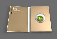 Mockup book of B12 vitamin. Illustration. Mockup book of B12 vitamin. 3D Illustration Royalty Free Stock Photos