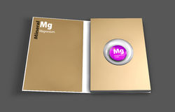Mockup book of Magnesium mineral. Illustration. Mockup book of Magnesium mineral. 3D Illustration Royalty Free Stock Photography