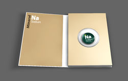 Mockup book of Sodium mineral. Illustration. Mockup book of Sodium mineral. 3D Illustration Stock Images