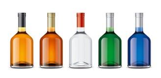 Mockup bottles of alcoholic beverages stock photo