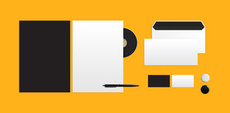 Mockup for branding identity. Template for branding identity on a yellow background. Top view Stock Images