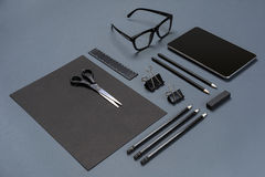 Mockup business brand template on gray background. Set of black stationery. Royalty Free Stock Image