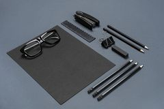 Mockup business brand template on gray background. Set of black stationery. Stock Images