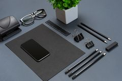 Mockup business brand template on gray background. Set of black stationery. Royalty Free Stock Photography
