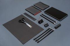 Mockup business brand template on gray background. Set of black stationery. Royalty Free Stock Photo