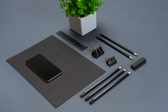 Mockup business brand template on gray background. Set of black stationery. Stock Photos