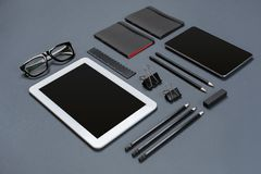 Mockup business brand template on gray background. Set of black stationery. Royalty Free Stock Photos
