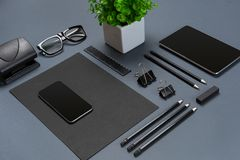 Mockup business brand template on gray background. Set of black stationery. Royalty Free Stock Images