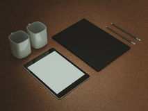 Mockup business template. Set of elements on the braun table. Mockup business template. High resolution Stock Photography