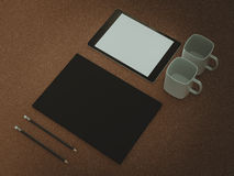 Mockup business template. Set of elements on the braun table. Mockup business template. High resolution Royalty Free Stock Photo