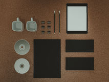 Mockup business template. Set of elements on the braun table. Mockup business template. High resolution Stock Photos