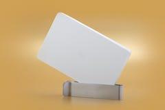 Mockup business template visit card on orange background. Royalty Free Stock Images