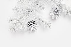 Mockup Christmas white tree and cone. Flat lay on a white wooden background, with place for your text. Top view royalty free stock image