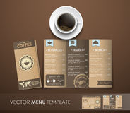 The mockup of the coffee menu with a cup of coffee Stock Photography