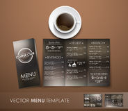 The mockup of the coffee menu with a cup of coffee Royalty Free Stock Image
