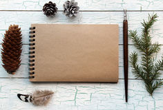 Mockup concept with feather and pine cones. The blank sketchbook on the rustic background with a pen and  natural decorations. Christmas, new year, winter Royalty Free Stock Photo