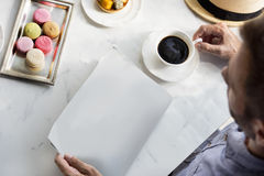 Mockup Copyspace Man Reading Newspaper Drinking Coffee Concept Royalty Free Stock Image