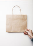 Mockup of craft shopping bag Stock Images
