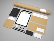 Mockup 3d illustration business template with clipboard and envelopes. Mockup business template with clipboard, notepad and envelopes. Recycled paper background Royalty Free Stock Photos
