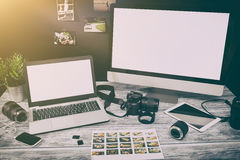 Mockup design monitor working desk white space designer screen Royalty Free Stock Photo